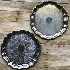 2 silver scalloped serving trays, wedding, shower
